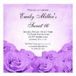 Vintage Purple Rose Sweet 16 Birthday Party Personalized Invites
