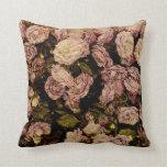 vintage purple rose toss pillow