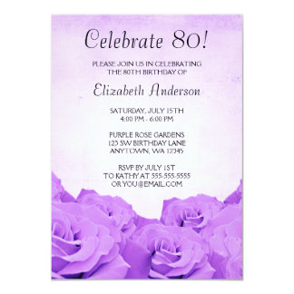 Vintage Purple Roses 80th Birthday Party 4.5x6.25 Paper Invitation Card