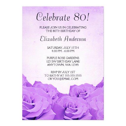 Vintage Purple Roses 80th Birthday Party Custom Invite