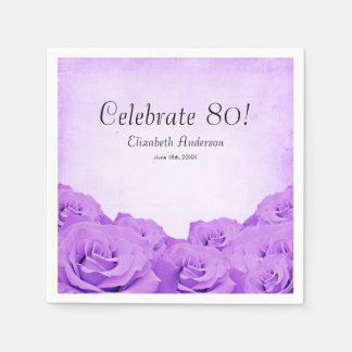 Vintage Purple Roses 80th Birthday Party Napkin