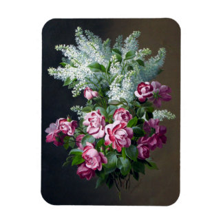 Vintage Purple Roses and White Lilacs Magnet
