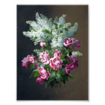Vintage Purple Roses and White Lilacs Photo Print