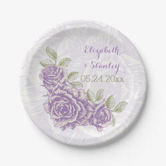 Vintage purple roses floral wedding paper plate