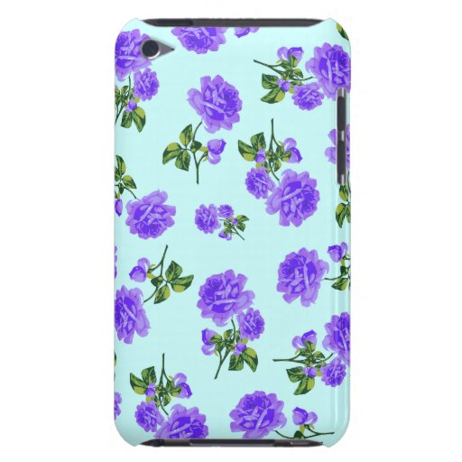 Vintage purple roses ipod case - blue barely there iPod cover
