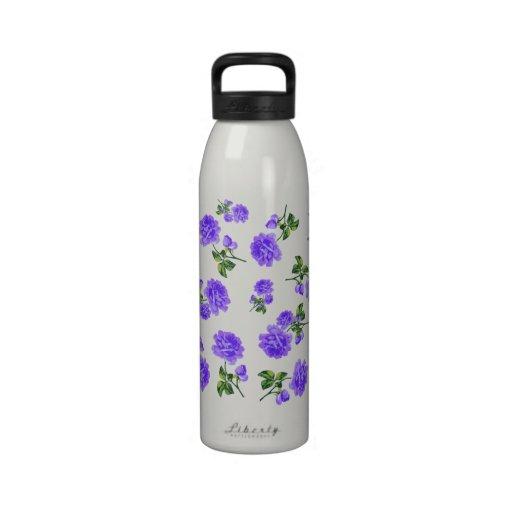 Vintage purple roses on white water bottle