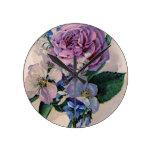 Vintage Purple Roses Wallclock