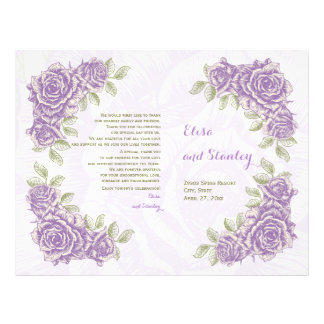 Vintage purple roses wedding folded program flyer