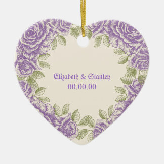 Vintage purple roses Wedding Double-Sided Heart Ceramic Christmas Ornament