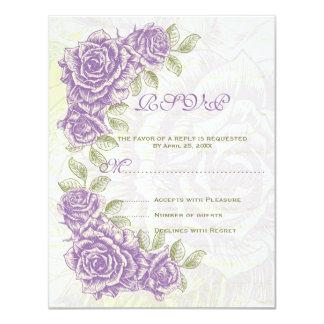 Vintage purple roses wedding RSVP response card