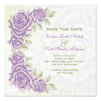 "Vintage purple roses wedding Save the Date 5.25"" Square Invitation Card"