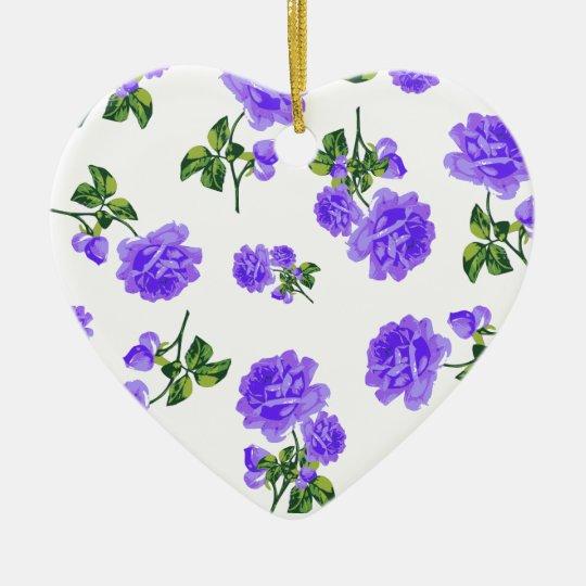 Vintage purple roses white floral ornament