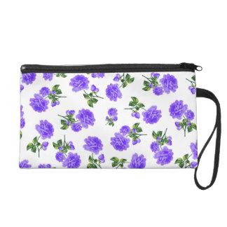 Vintage purple roses wristlet purse