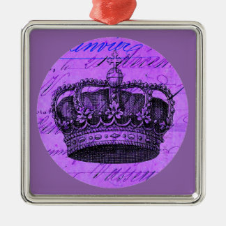 Vintage Purple Royal French Crown Collage Metal Ornament