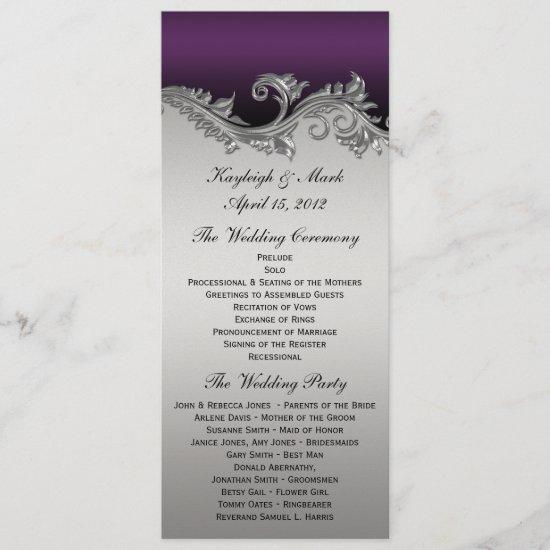 Vintage Purple Silver Black Wedding Program Invita