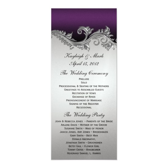 Vintage Purple Silver Black Wedding Program Invita