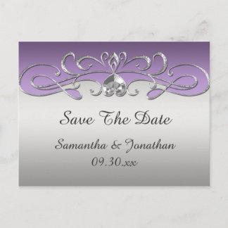 Vintage Purple Silver Ornate Swirls Save The Date Announcement Postcard