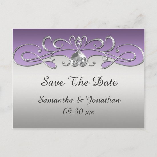 Vintage Purple Silver Ornate Swirls Save The Date Announcement Postcard