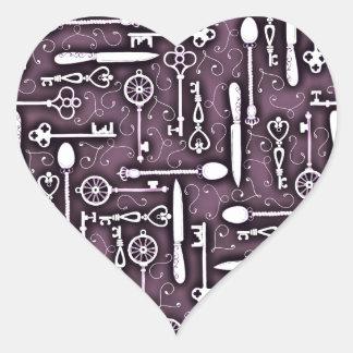Vintage Purple Steampunk Pattern Keys Knives Spoon Heart Sticker
