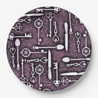 Vintage Purple Steampunk Pattern of Keys Knives Paper Plate