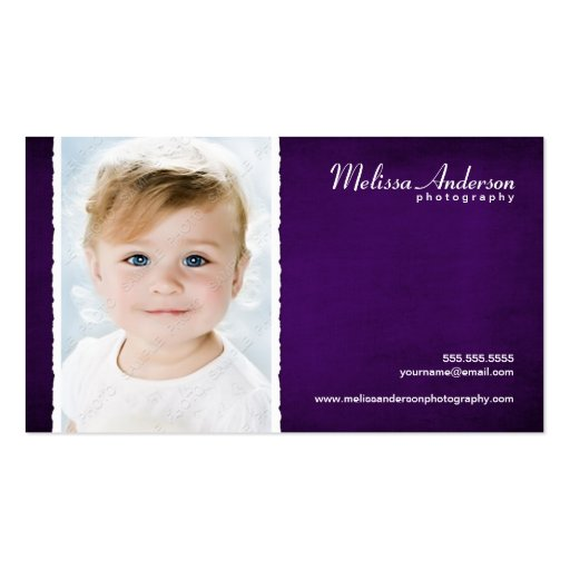 Vintage Purple Studio Portrait Photographer Business Card Template
