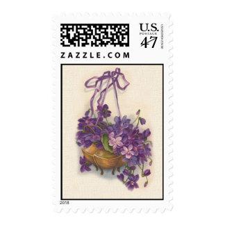 Vintage Purple Sweat Pea Basket Easter Postage
