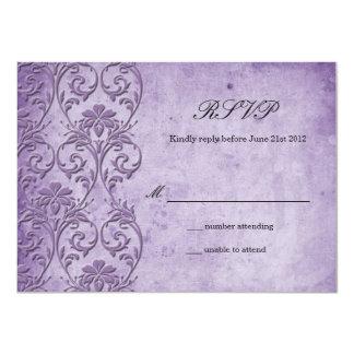 Vintage Purple Swirl Wedding RSVP Card