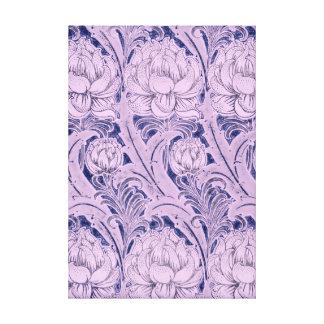Vintage Purple Swirly Peony Flower Pattern Canvas Print