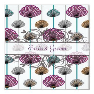vintage purple teal dandelions wedding invitation