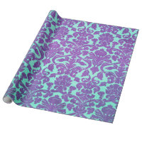 Vintage Purple Turquoise Floral Damask Pattern Wrapping Paper