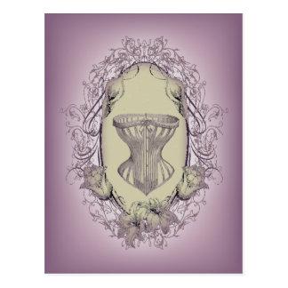 Vintage Purple Victorian corset fashion Postcard