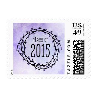 Vintage Purple Vines 2015 Graduation Postage Stamp
