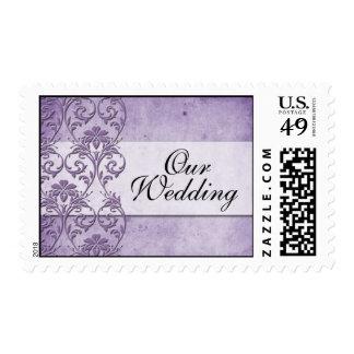 Vintage Purple Wedding Postage Stamp