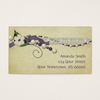 Vintage Purple White Beads and Lace Business Card