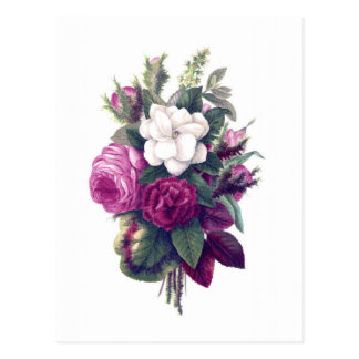 Vintage Purple & White Floral Bouquet Postcard