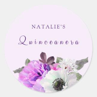 Vintage Purple White Flower Quinceanera Sticker