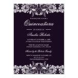 Hand shaped Vintage Purple White Lace Quinceanera Invitation