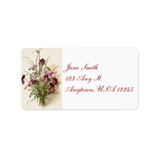 Vintage Purple Wildflowers Address Labels