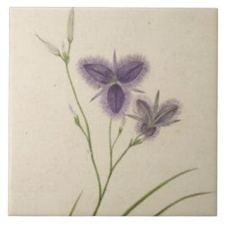 Vintage Purple Wildflowers Tile
