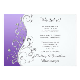 Vintage Purple with Ornate Silver Floral Swirls 5x7 Paper Invitation Card