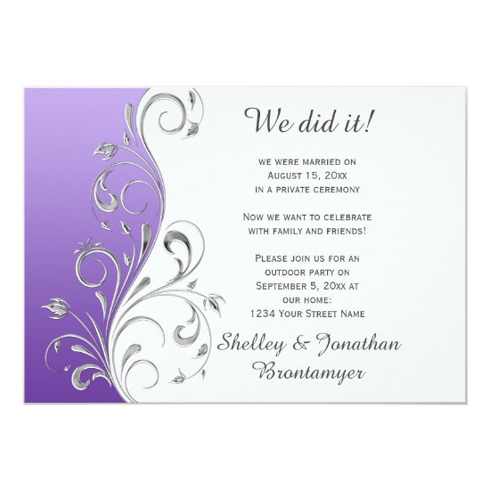 Vintage Purple with Ornate Silver Floral Swirls Invitation