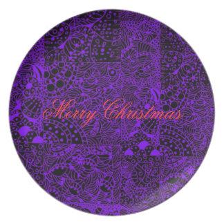 Vintage Purple Zintangle Art Plate