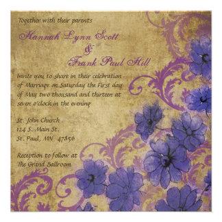 Vintage púrpura de la amapola y del Flourish que c Comunicado Personal