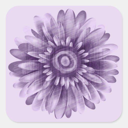 Vintage púrpura de la margarita calcomanías cuadradas