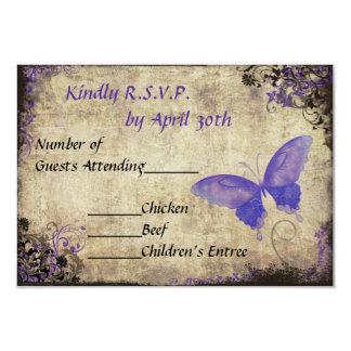 Vintage púrpura de la mariposa que casa la invitación 8,9 x 12,7 cm
