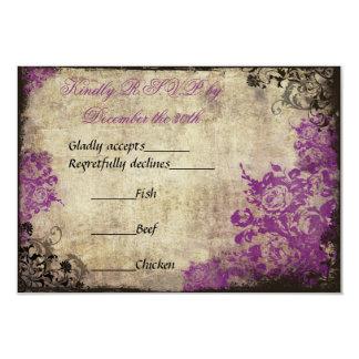 Vintage púrpura de los rosas que casa la invitación 8,9 x 12,7 cm