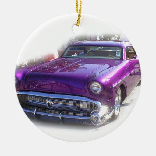 Vintage púrpura del Car Show del coche de carreras Ornamentos De Reyes Magos