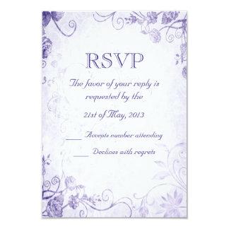 Vintage púrpura elegante que casa la tarjeta de invitación 8,9 x 12,7 cm
