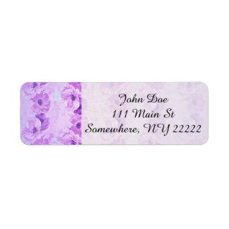 Vintage púrpura esperanzado floral etiqueta de remitente