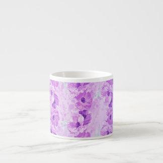 Vintage púrpura esperanzado floral taza espresso